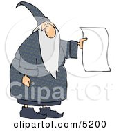Wizard Holding A Blank Paper Royalty Free Wizard Clipart Illustration