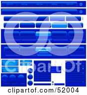 Royalty Free RF Clipart Illustration Of A Digital Collage Of Blue Tabs And Buttons