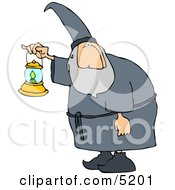 Old Wizard Walking Around At Night With A Lit Lantern Clipart