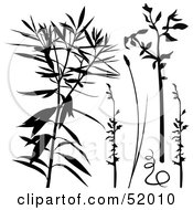 Poster, Art Print Of Digital Collage Of Blue And Blank Plant Silhouettes