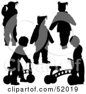 Royalty Free RF Clipart Illustration Of A Digital Collage Of Black Playing Children Silhouettes Version 3