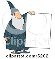 Old Wizard Holding A Blank Poster Board Sign Clipart