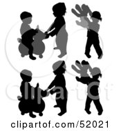 Royalty Free RF Clipart Illustration Of A Digital Collage Of Silhouetted Playground Children