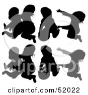 Royalty Free RF Clipart Illustration Of A Digital Collage Of Silhouetted Children Playing With A Ball Version 2 by dero