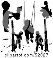 Royalty Free RF Clipart Illustration Of A Digital Collage Of Black Playing Children Silhouettes Version 1