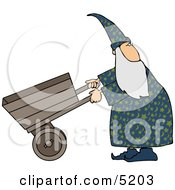 Wizard Pushing An Empty Wheelbarrow While Looking Over His Shoulder Clipart