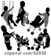 Royalty Free RF Clipart Illustration Of A Digital Collage Of Black Playing Children Silhouettes Version 2