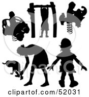 Royalty Free RF Clipart Illustration Of A Digital Collage Of Black Children Playing Silhouettes Version 4