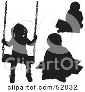 Royalty Free RF Clipart Illustration Of A Digital Collage Of Silhouetted Kids Swinging And Coloring