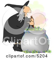 Wicked Witch Stirring a Magical Potion in a Cauldron with a Wooden Spoon