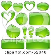 Royalty Free RF Clipart Illustration Of A Digital Collage Of Green Design Elements Hearts Bursts Seals Labels And Punctuation