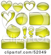 Royalty Free RF Clipart Illustration Of A Digital Collage Of Yellow Design Elements Hearts Bursts Seals Labels And Punctuation