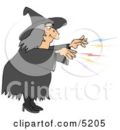 Evil Wicked Witch Casting A Magical Spell On Someone Clipart