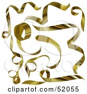 Royalty Free RF Clipart Illustration Of A Digital Collage Of Golden Spiral Ribbons