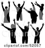 Royalty Free RF Clipart Illustration Of A Digital Collage Of Silhouetted Dancers With Their Hands Up Version 1