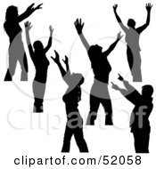 Royalty Free RF Clipart Illustration Of A Digital Collage Of Silhouetted Dancers With Their Hands Up Version 2 by dero
