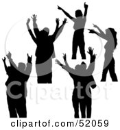 Royalty Free RF Clipart Illustration Of A Digital Collage Of Silhouetted Dancers With Their Hands Up Version 3 by dero