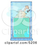 Big Fat Woman Taking A Hot Shower Clipart Illustration