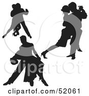 Royalty Free RF Clipart Illustration Of A Digital Collage Of Black Dancer Silhouettes Version 1