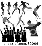 Royalty Free RF Clipart Illustration Of A Digital Collage Of Black Dancer Silhouettes Version 6