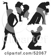 Royalty Free RF Clipart Illustration Of A Digital Collage Of Black Dancer Silhouettes Version 3
