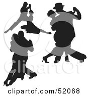 Royalty Free RF Clipart Illustration Of A Digital Collage Of Black Dancer Silhouettes Version 2