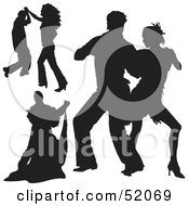 Royalty Free RF Clipart Illustration Of A Digital Collage Of Black Dancer Silhouettes Version 4