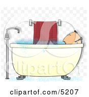 Middle Aged Man Taking A Bubble Bath Clipart Illustration