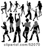 Royalty Free RF Clipart Illustration Of A Digital Collage Of Black Dancer Silhouettes Version 9