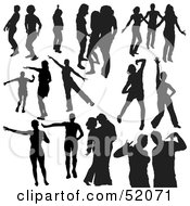 Royalty Free RF Clipart Illustration Of A Digital Collage Of Black Dancer Silhouettes Version 7