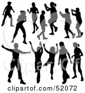 Royalty Free RF Clipart Illustration Of A Digital Collage Of Black Dancer Silhouettes Version 8
