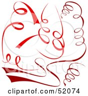 Royalty Free RF Clipart Illustration Of A Digital Collage Of Red Spiral Ribbons