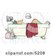 Middle Aged Woman Taking A Bubble Bath Clipart Illustration