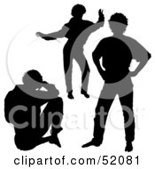 Royalty Free RF Clipart Illustration Of A Digital Collage Of Silhouetted Guy Poses Version 4