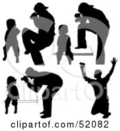 Royalty Free RF Clipart Illustration Of A Digital Collage Of Silhouetted Photographers Version 5