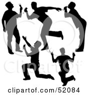 Royalty Free RF Clipart Illustration Of A Digital Collage Of Silhouetted Men Drinking Version 1