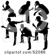 Royalty Free RF Clipart Illustration Of A Digital Collage Of A Silhouetted Drinking Men In Santa Hats Version 3