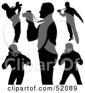 Royalty Free RF Clipart Illustration Of A Digital Collage Of Silhouetted Photographers Version 1
