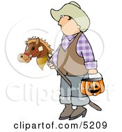 Boy Wearing Cowboy Halloween Costume With Stick Pony And Candy Bucket Clipart
