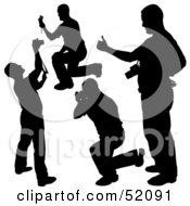 Royalty Free RF Clipart Illustration Of A Digital Collage Of Silhouetted Photographers Version 4