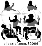 Royalty Free RF Clipart Illustration Of A Digital Collage Of A Silhouetted Drinking Men In Santa Hats Version 4
