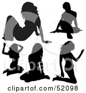 Royalty Free RF Clipart Illustration Of A Digital Collage Of Sexy Lady Silhouettes Version 1