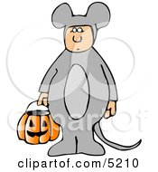 Kid Wearing Halloween Mouse Costume While Trick Or Treating With Candy Bucket Clipart