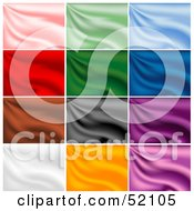 Royalty Free RF Clipart Illustration Of A Digital Collage Of Rippling Silk Backgrounds Pink Green Blue Red Brown Gray Purple White And Orange