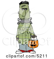 Boy Wearing Halloween Frankenstein Monster Costume While Trick Or Treating With Candy Bucket Clipart