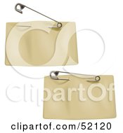 Royalty Free RF Clipart Illustration Of A Digital Collage Of Two Blank Tan Price Tags With A Clothes Pin