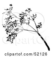 Royalty Free RF Clipart Illustration Of A Black Tree Branch Silhouette