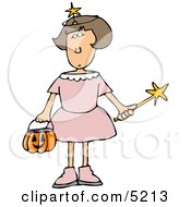 Girl Wearing Halloween Fairy Godmother Costume While Trick Or Treating Clipart
