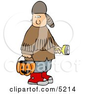 Boy Wearing Halloween Davy Crockett Costume While Trick Or Treating Clipart