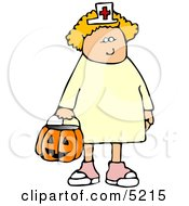White Girl Wearing Halloween Nurse Costume While Trick Or Treating Clipart